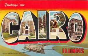 C16/ Cairo Illinois Il Postcard 1945 Linen Teich Large Letter Greetings from