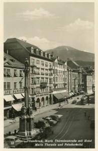 Austria - Innsbruck, Tyrol - Hotel Maria Theresa and Street Scene   RPPC
