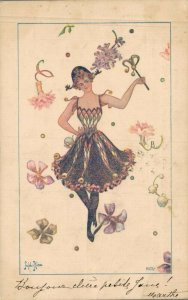 Artist Signed Fashion Lady with Flowers 05.66