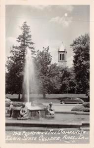 Ames IA~Iowa State College~Campanile Behind the Fountain~1940s Car~1950 RPPC