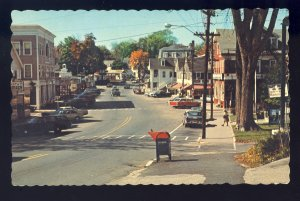 Wolfeboro, New Hampshire/NH Postcard, Downtown Area, Old Cars/US Post Box, 1971!