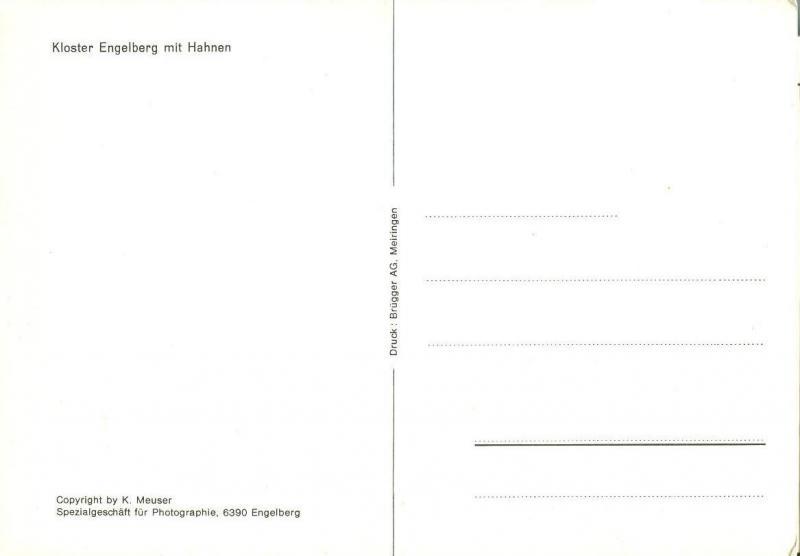 Switzerland, Suisse, Kloster Engelbeg mit Hahnen, Postcard
