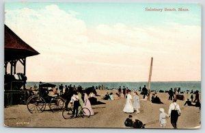 Salisbury Beach Massachusetts Crowd~Band Stand Gazebo~Horse Buggy~Bicycle~1908