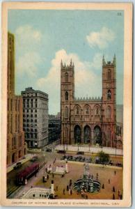 MONTREAL Quebec Canada Postcard CHURCH OF NOTRE DAME, Place D'Armes c1940s