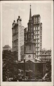 New York City Manhattan St. Paul's Chapel c1910 Real Photo Postcard