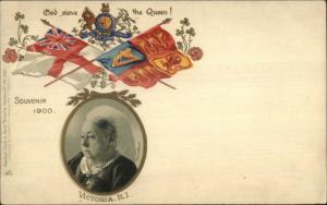 TUCK Empire Series 382 Queen Victoria RI Flags 1900 Postcard EXC COND