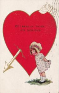 Valentine's Day With Young Girl and Arrow Pierced Red Heart 1918