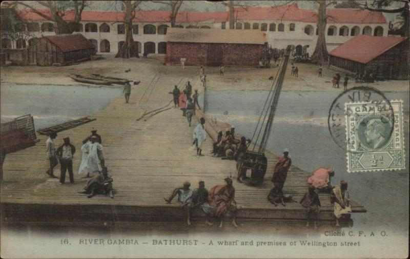 River Gambia Bathurst Dock Scene c1905 Used Postcard Stamp/Cover