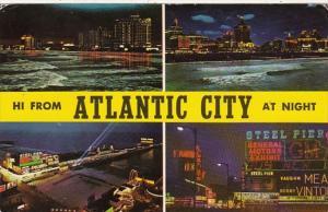 New Jersey Atlantic City At Night Multi View