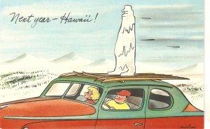 Nest year .... Hawaii! Humorous vintage American postcard