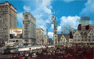 Detroit Michigan~Woodward Avenue North @ Grand Circus Park~DeSoto Car Ad~1950s