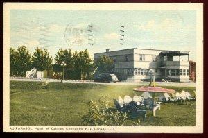 dc1068 - CHICOUTIMI Quebec Postcard 1948 Au Parasol Hotel by PECO