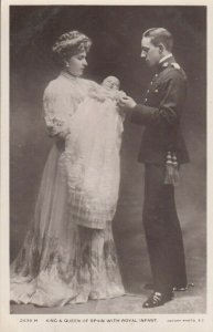 King & Queen of Spain & royal infant photo postcard