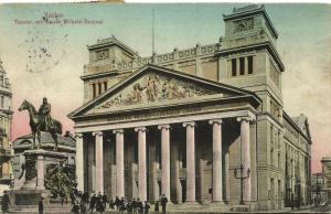 germany, AACHEN, Theater mit Kaiser Wilhelm-Denkmal (1911)
