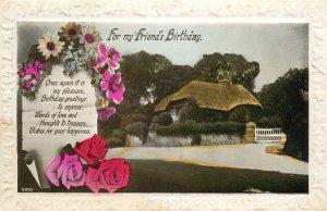 Postcard Greetings birthday flowers house street view