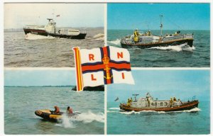 Shipping; RNLI Lifeboats Multiview RP PPC Unposted, c 1970's, Shows 44Ft Oakley