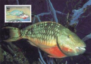 Stoplight Caribbean Parrotfish  Rare Grenada WWF Stamp FDC Postcard