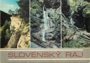 Postcard Czech republic multi view slovensky raj water fall nature natural woods