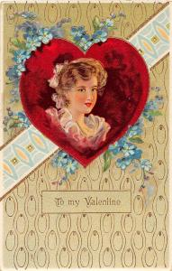 C2/ Valentine's Day Love Holiday Postcard c1910 Gold-Lined Woman Heart 17