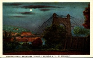 West Virginia Wheeling National Highway Bridge Over Ohio River By Moonlight C...