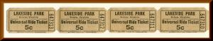 4 Lakeside Amusement Park Universal Ride Tickets, Salem, Virginia/VA