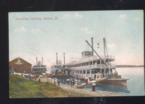 QUINCY ILLINOIS STEAMBOAT LANDING MISSISSIPPI RIVERBOAT STEAMER OLD POSTCARD