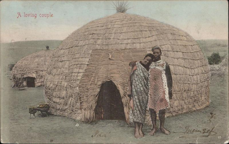 a loving couple african ethnic tribe hut