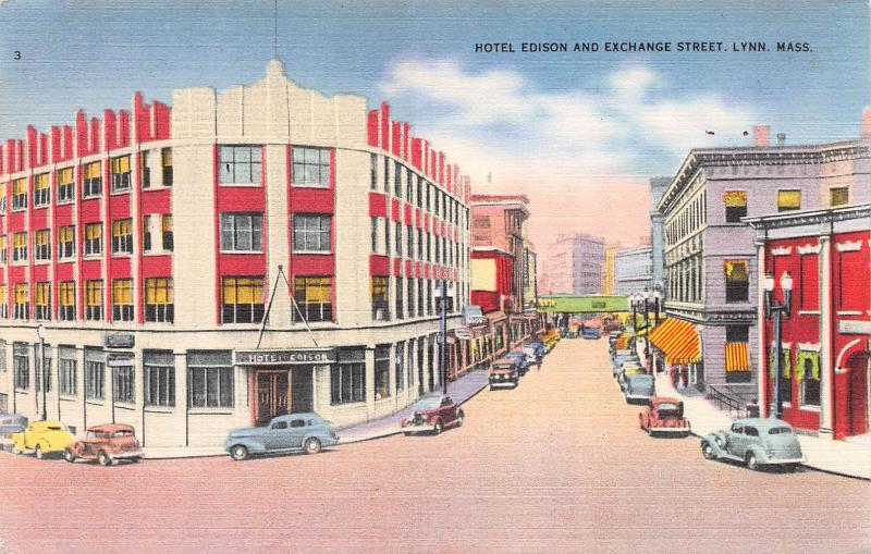 Hotel Edison and Exchange Street, Lynn, MA, Early Linen Postcard, Unused