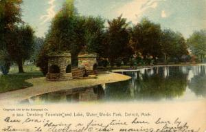 MI - Detroit. Water Works Park, Drinking Fountain and Lake