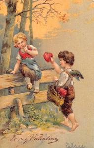 TO MY VALENTINE-CHERUB DELIVERING HEART TO YOUNG CHILD POSTCARD 1907