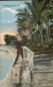 Fisherman Casting Net Hawaii HI c1910 Postcard