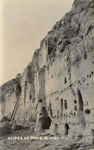 LP09 Puye Cliff Dwellings New Mexico Postcard RPPC National Historic Monument