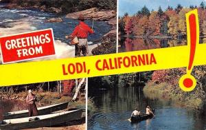 Lodi California~Banner Greetings~Fishing in Rowboats~Hip Waders~1950s Postcard