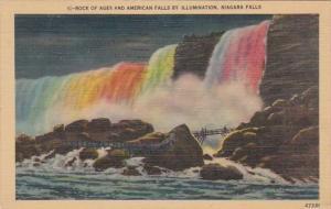 New York Niagara Falls Rock Of Ages and American Falls By Illumination 1948