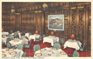 BRANDYWINE ROOM HOTEL DU PONT WILMINGTON DELAWARE POSTCARD (1930s)