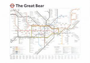 Rare Art Postcard, The Great Bear by Simon Patterson, London Underground Map 77K