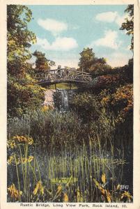 Rock Island Illinois~Long View Park-Girl on Rustic Bridge~Waterfall~1920s PC
