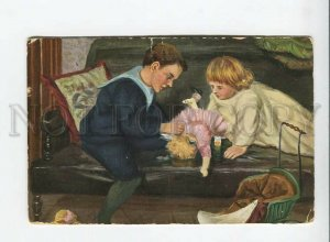 3177745 KIds w/ Broken DOLL by CHANKS Vintage color Russia PC