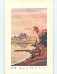 Old Postcard PYRAMIDS BEHIND NILE RIVER Cairo Egypt F5508