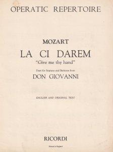 Mozart La Ci Darem Give Me Thy Hand Old Classical Sheet Music