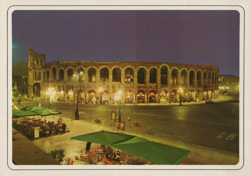 View of The Arena At Night - Monumenti di Verona Vintage Postcard