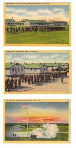 3 Camp Edwards Cape Cod MA Military Base Postcards Bayonet Drill Inspection