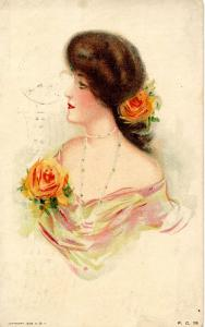 Fashion - Lady With Rose in Hair