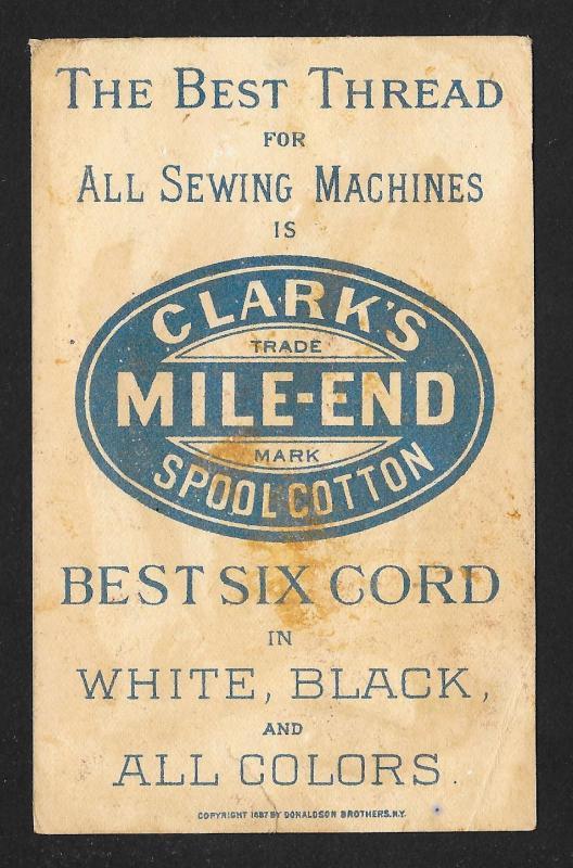 VICTORIAN TRADE CARD Clark's Mile-end Cotton Thread