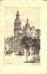 Vintage Carl Jander Berlin Kgl. Schloss Etching Dresden Original Print Postcard