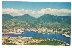 Honolulu Harbor 1965 Postcard Japan Stamp