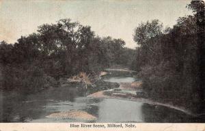 Milford Nebraska Blue River Scene Waterfront Antique Postcard K76603