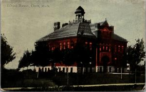 Clare MI~Unusual Belltower Cupola Surrounded by Parapet on RED School House 1910