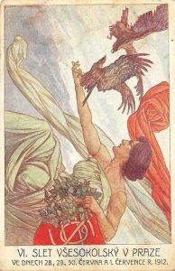 VI Slet Všesokolský v Praze 1912 Czech Prague Poster-Style Art Vintage Postcard