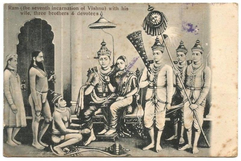India c.1910 Ram with 3 brothers & devotees Hindu postcard